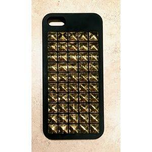 Black Gold 3-D Studded iPhone 5/5S/SE Snap On Case